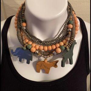 6strand peach/ green animal necklace